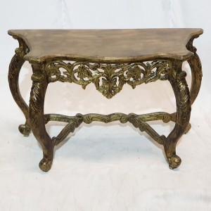 Antique Hand Carved solid wood Hall Table Golden brown 119x44X75cm