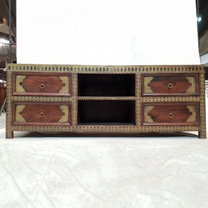 Indian Antique Solid Wood Brass TV UNIT With 4 Drawers 165x45x62cm