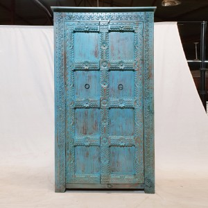 Antique Indian old door carved Cabinet Pantry Cupboard Blue Rustic 106x43x186cm