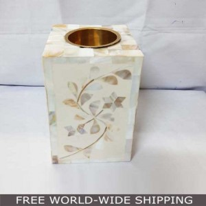 Real Bone Inlay Designer Indian Pillar Vintage Candle Stand Holder WHITE
