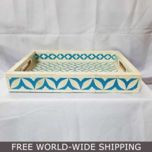 Real Bone Inlay Designer rectangular TRAY Blue
