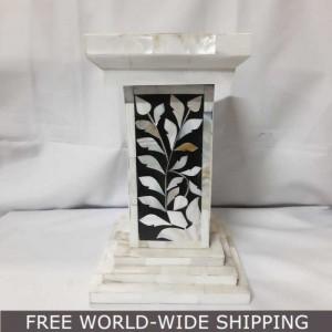 Real Bone Inlay Designer Pillar Vintage Candle Stand Holder WHITE B