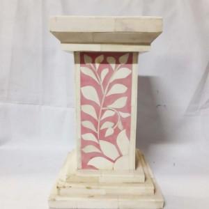 Real Bone Inlay Designer Pillar Vintage Candle Stand Holder Pink