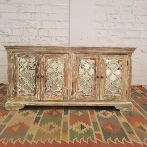 French Arched Hand Carved Wooden Buffet Sideboard White Wash  160X40X80CM