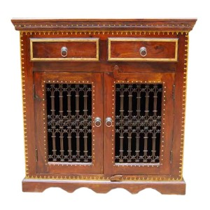 Jali Indian Solid Wood 2 Drawer TV Media Small Cabinet With Brass Work