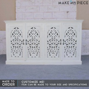 Jali Carved design French Sideboard White