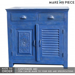 Hand Carved Shutter Design Solidwood Sideboard Blue