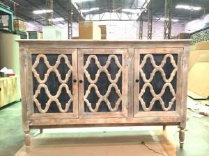 French Arched Door Solid wood Sideboard 1.5m Zinc Tone Door