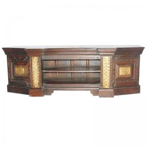 Embossed Antique Brass work Mahogany Entertainment Unit With Brass Finish