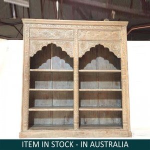 Solid Wood Mughal Indian Hand carved Bookshelf storage Rustic 169 x 45 x 185 cm