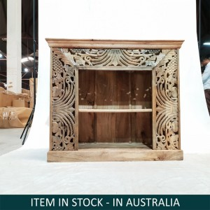 Indian Hand Carved Floral Pattern Bookshelf Book shelf display stand Small Natural