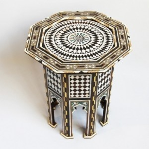 Maaya Bone Inlay Floral Small Arabian Side Table Stool Stand