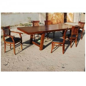 Boston Contemporary Barrel-Back Chairs Dining Table Set  Extension Honey