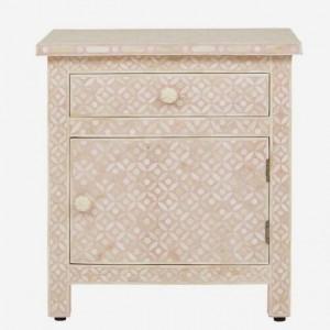 Maaya Bone Inlay Bedside Cabinet Table Pink Geometric