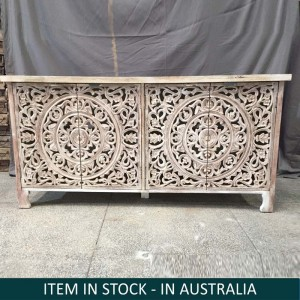 Dynasty Hand Craved Indian Solid Wood Sideboard With Carved Doors