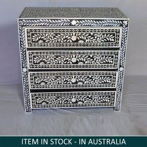 Pandora Bone inlay Black Floral Chest of Drawer