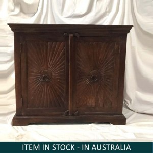 Hand Carved Indian Solid Wood Small Sideboard With Drawers Brown