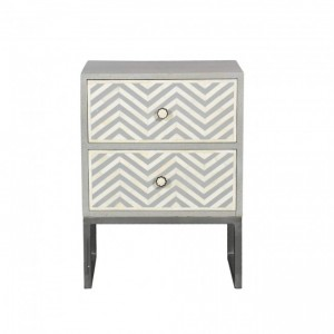 Maaya Bone Inlay Bedside Cabinet Table Grey ZigZag