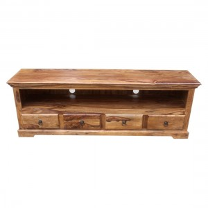 Indian Solid Wood TV Unit With 4 Drawers Natural 180 x 45 x 60 Cm
