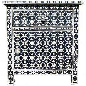 Maaya Bone inlay Floral bedside Cabinet lamp table Black