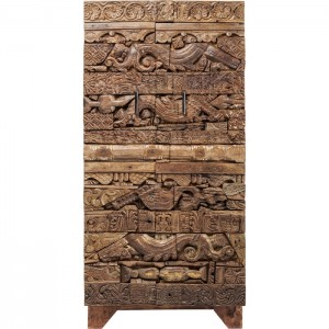 Antique Tribal Carved Panel Solid Wood Cupboard Cabinet Wardrobe Natural 1.8m