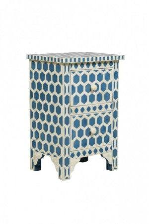 Maaya Bone Inlay Bedside Cabinet Table Blue Geometric