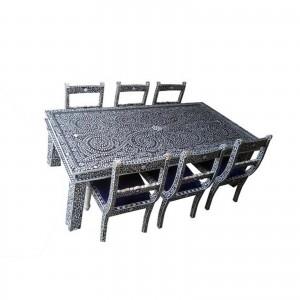 Maaya Bone Inlay Dining Set Grey White Floral 180cm