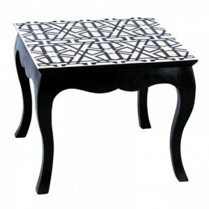 Maaya Bone Inlay White Black Coffee Table Geometric