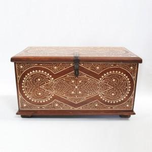 Maaya Bone Inlay Brown Coffee Table Blanket Box