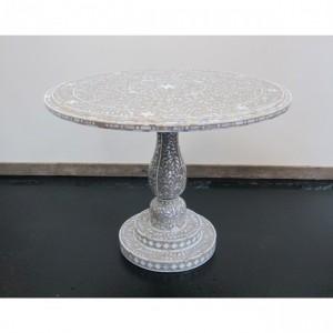 Maaya Bone Inlay Round Coffee Table Grey White Floral