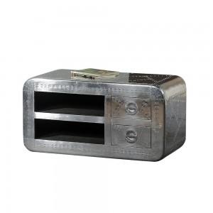 Aviator Aluminium Aviation rivet detail unusual Aviator TV Cabinet Small