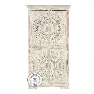 Dynasty Hand Craved Indian Solid Wood Wardrobe Bookshelf Cabinet White