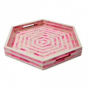Maaya Bone Inlay Serving Tray - Octangle Pink  40x40x5cm