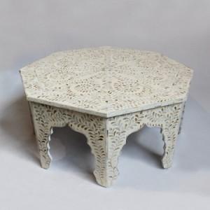 Maaya Bone Inlay Round Coffee Table White Floral