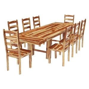 Classic Solid Rosewood Extension Dining Table & Chairs Natural