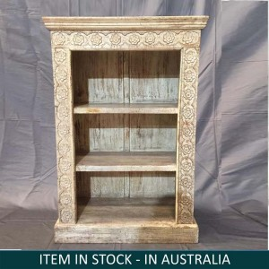 Solid Wood Indian Hand carved Bookshelf storage Rustic WHITE 75x34x107 cm