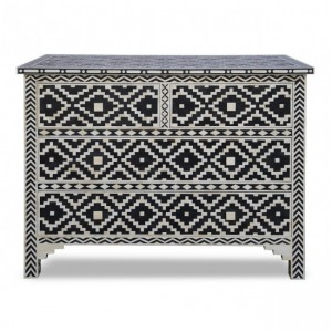 Maaya Bone Inlay Chest of Drawer sideboard Black and white Floral