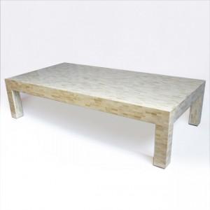 Maaya Bone Inlay Rectangular Coffee Table White Geometric