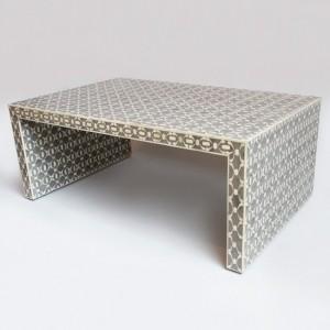 Maaya Bone Inlay Rectangular Coffee Table Grey Geometric