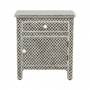 Maaya Bone inlay Fish Scale bedside Cabinet lamp table Black