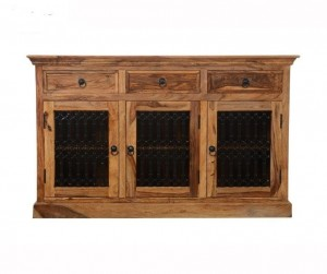 Indian Wooden Buffet Cabinet Sideboard With Jali Doors & Drawers Natural 150x45x90 Cm