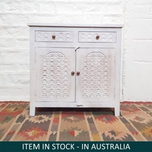 Blanc Indian Solid Wood Hand Carved Small Buffet Cabinet With Drawers