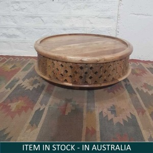 Bristol Wooden Carved Round Coffee Table Natural 80 x 80 x 30 cm