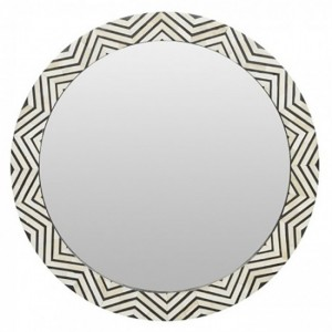 Maaya Round Bone Inlay Mirror Frame - Zig Zag Pattern 75x5x75cm