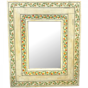Bone Inlay Mughal Hand Painted Indian Mirror Frame 46 x 56 cm