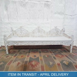 Hand Carved Indian Solid Wood Sofa Daybed Whitewash 180 x 50 x 80 cm
