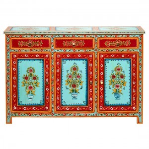 Mughal Hand Painted Solid Wood Buffet Sideboard With 3 Drawers