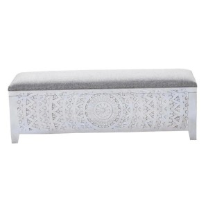 Mandala Hand Carved Bench Style White Storage Ottoman 150x40x45 cm