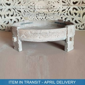 Indian Tribal Hand Carved Solid Wood Chakki Coffee Table Flower Whitewash 75 cm