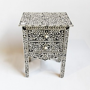 Maaya Bone inlay Floral 2 drawer bedside lamp table